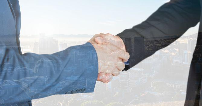 Untitled handshake overlap with city