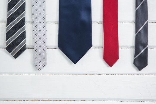 Close up of multi colored necktie