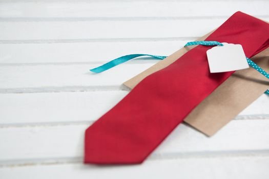 High angle view of necktie with price tag