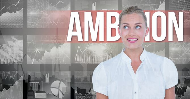 Digital image of businesswoman against ambition text and graphs