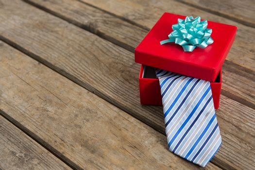 High angle view of necktie in gift box