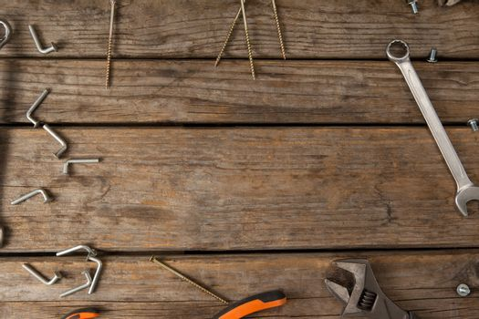 Hand tools on wooden table