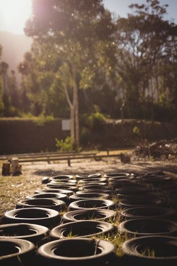 Tyres arranged in boot camp