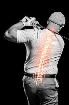 Digitally generated image of golfer
