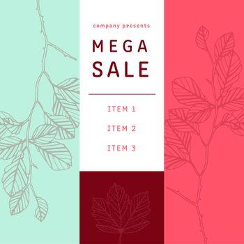 Mega sale brochure with leaf