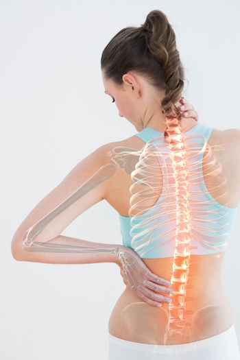 Digitally generated image of female suffering from muscle pain