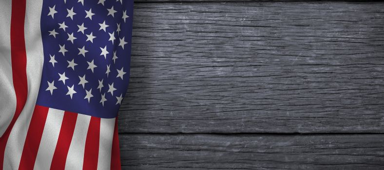 American flag against wood