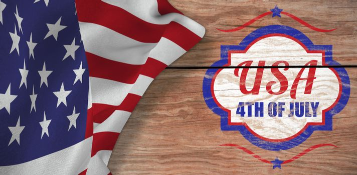 Digitally generated image of 4th of july text  against brown wood panelling