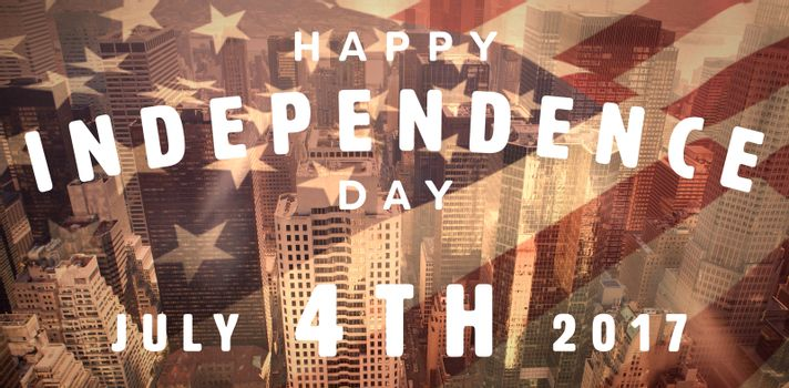 Happy 4th of july text on white background against high angle view of downtown district in city