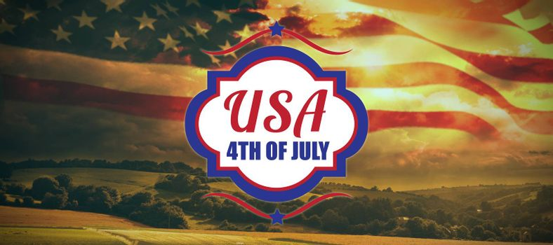 Digitally generated image of 4th of july text  against country scene