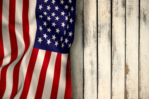 American flag against wood background