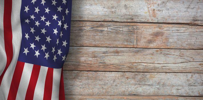 American flag against full frame of wooden wall