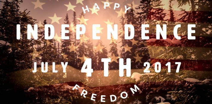 Computer graphic image of happy 4th of july text against united states of america flag