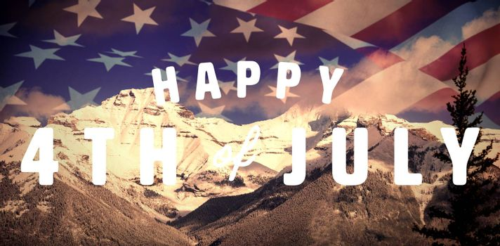 Digitally generated image of happy 4th of july text against scenic view of snowy mountain range