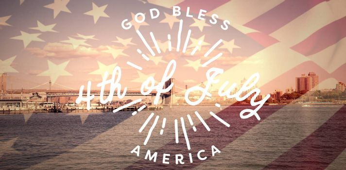 Digitally generated image of happy 4th of july message against bridge over bridge against sky