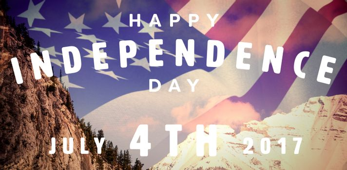 Happy 4th of july text on white background against snow capped mountain against sky