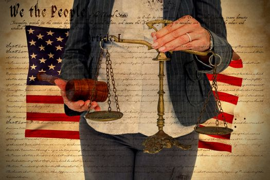 Composite image of female lawyer holding scale and gavel