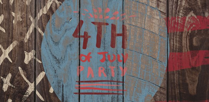 Digitally generated image of 4th of july party text against wood panelling