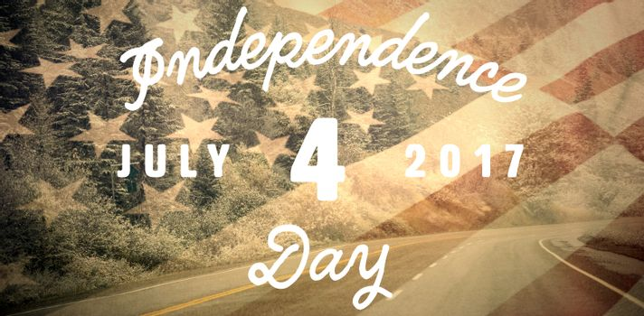 Digitally generated image of happy 4th of july message against asphalt road through forest
