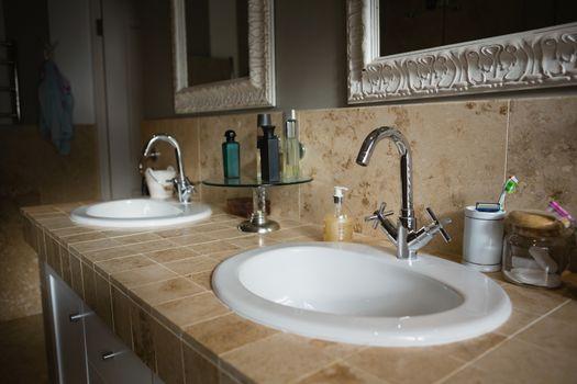 Faucet on sink in bathroom