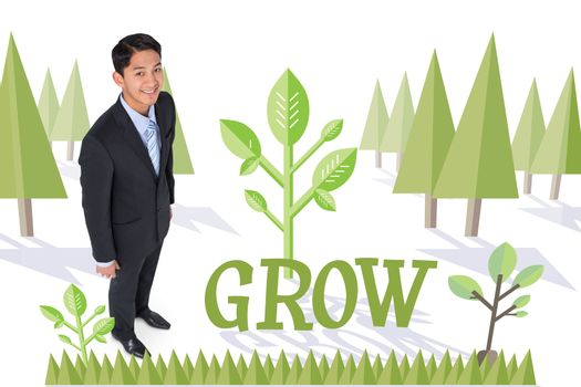 Grow against forest with trees