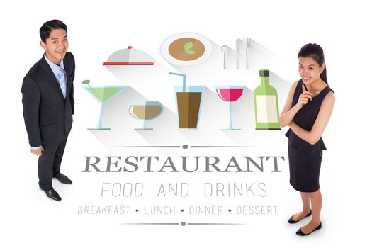 Thoughtful businesswoman against restaurant advertisement