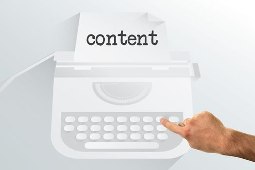 The word content and hand pointing