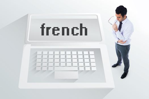 The word french and unsmiling businessman
