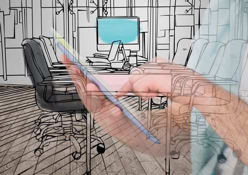 hands with tablet drawing on it the new office lines and overlap with this in the room that is going