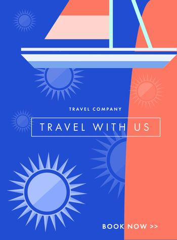Vector image of travel company coupon with text message
