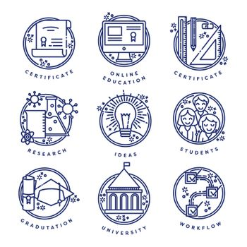 Vector set of education symbols against white background