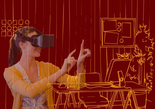 young woman with 3D glasses overlap with new office orange lines on dark red background