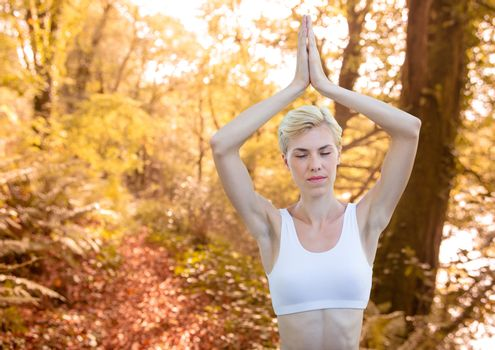Woman meditating against blurry forest