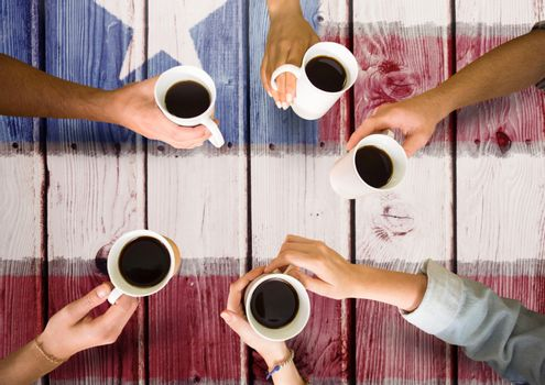 Digital composite of Friends having a coffee together against american flag