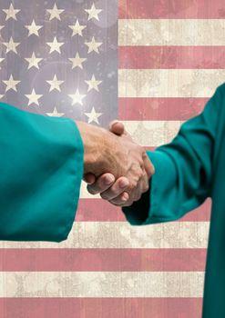 Handshake against american flag background