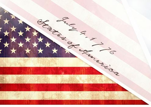 Independence Day declaration with USA flag