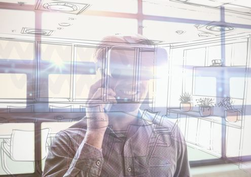 business young man with 3D glasses in the office overlap with  office lines
