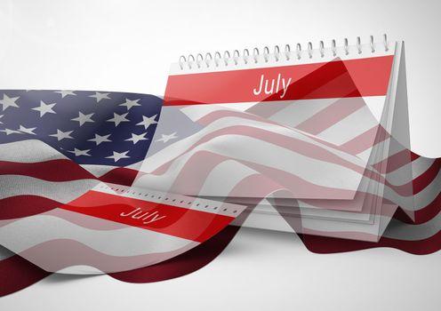 July calendar against american flag