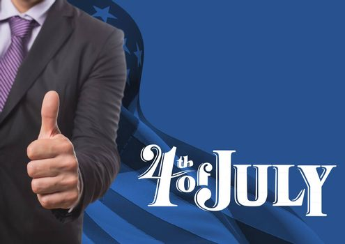 Digital composite of Business man with thumb up for the 4th of july