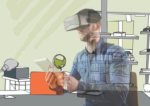 man with 3D glasses and tablet overlap with new office lines.