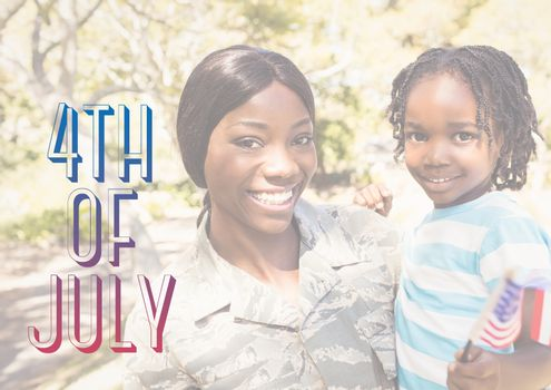 Digital composite of Smiling mother and daughter for the 4th of July
