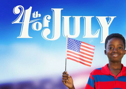 Digital composite of Children holding an american flag for the 4th of July
