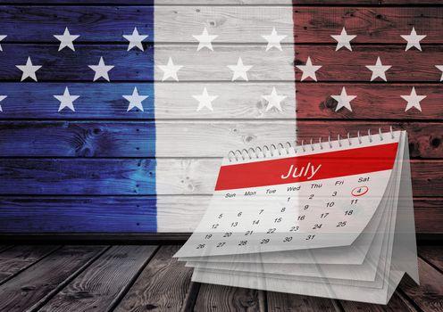 July calendar against french falg