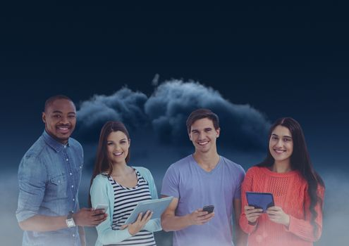 Smiling friends texting in darkness with dark clouds in background