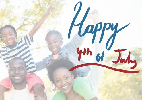 Digital composite of Smiling american family for the 4th of July