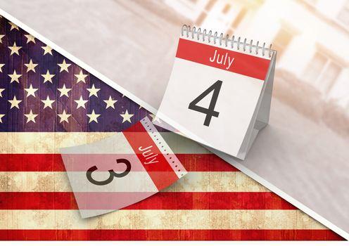Digital composite of 4th of July calendar against american flag