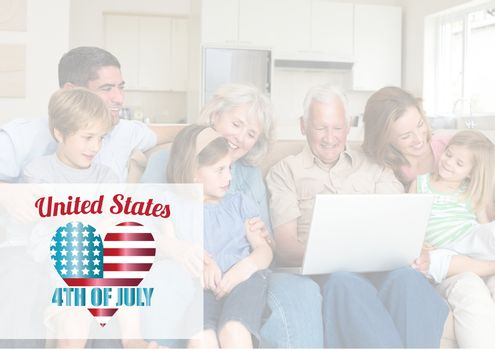 Digital composite of Happy family loong at the laptop for the 4th of July