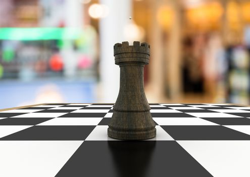 Chess piece against blurry background