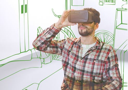 young man with 3D glasses overlap with office green lines