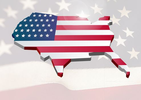 Digital composite of USA map covered by the american flag